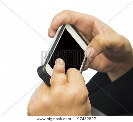 The Man disabled hand play smart phone