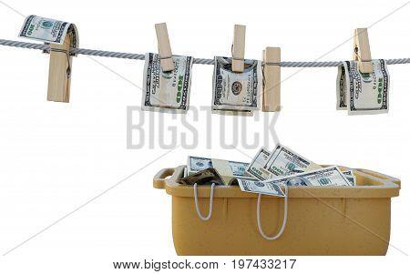 washing money concept composition background photo isolate white