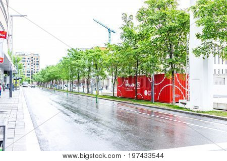 Montreal, Canada - May 26, 2017: Buildings In Downtown Area Of City In Quebec Region With Empty Road
