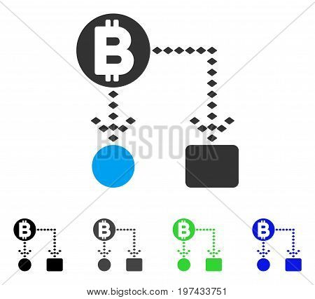 Bitcoin Cashflow Scheme flat vector icon. Colored bitcoin cashflow scheme gray black blue green pictogram variants. Flat icon style for web design.