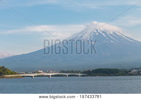 Fuji volcano the symbol of Japan with clear blue sky and Kawaguchi lake view as foreground