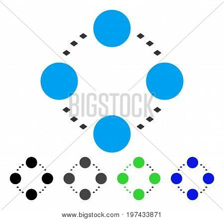 Circular Relations flat vector illustration. Colored circular relations gray black blue green icon versions. Flat icon style for web design.
