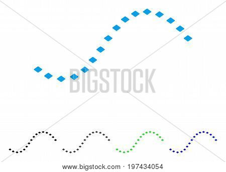 Dotted Function Line flat vector illustration. Colored dotted function line gray black blue green icon variants. Flat icon style for application design.