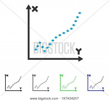 Dotted Function Plot flat vector illustration. Colored dotted function plot gray black blue green pictogram variants. Flat icon style for graphic design.