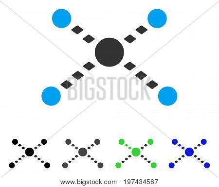 Dotted Links flat vector icon. Colored dotted links gray black blue green icon versions. Flat icon style for application design.