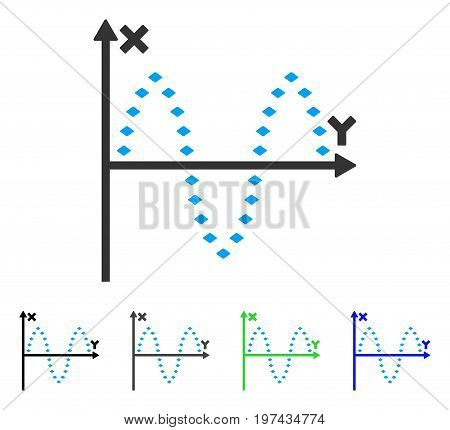 Dotted Sinusoid Plot flat vector icon. Colored dotted sinusoid plot gray black blue green icon variants. Flat icon style for graphic design.