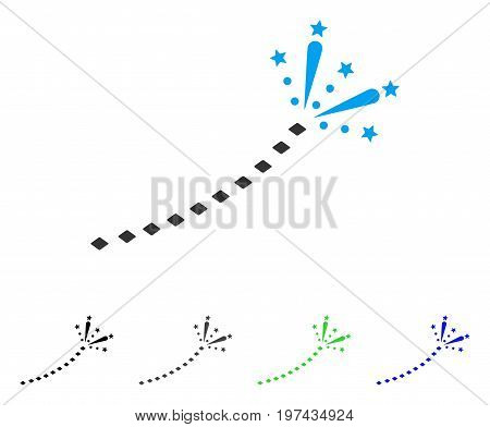 Fireworks Trace flat vector pictogram. Colored fireworks trace gray black blue green icon versions. Flat icon style for application design.