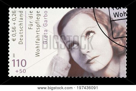 GERMANY - CIRCA 2001 : Cancelled postage stamp printed by Germany, that shows Greta Garbo.