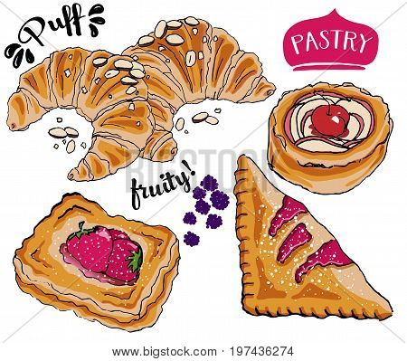 Puff Pastry, including French almond croissants, cherry turnovers, fruit shells and Danish jam-filled pastry