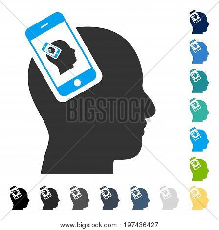 Smartphone Head Plugin Recursion icon. Vector illustration style is flat iconic symbol in some color versions.
