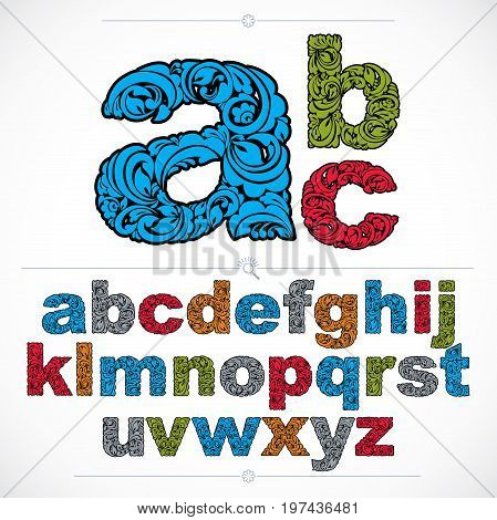 Floral font hand-drawn vector lowercase alphabet letters decorated with botanical pattern. Colorful ornamental typescript vintage design lettering.