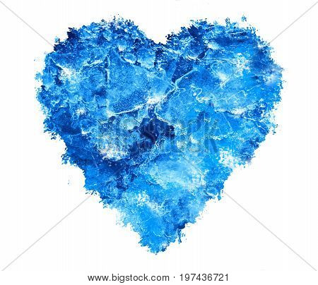 Blue Ice heart with bubbles and cracks isolate