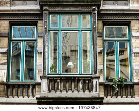 Old But Renovated Windows In Historical Part Of Bruxelles