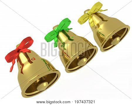 Three gold bells with ribbons against white background 3D illustration.