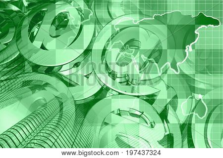 Financial background in greens with map calculator buildings and mail signs.