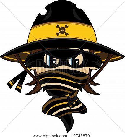 Cute Cartoon Wild West Cowboy Outlaw in Mask