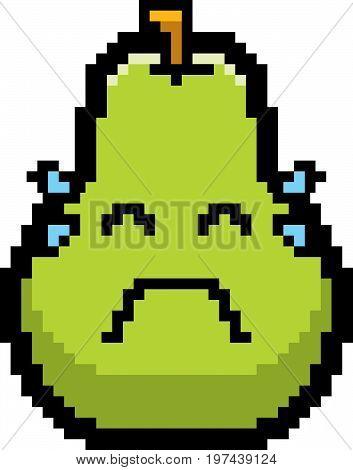 Crying 8-bit Cartoon Pear