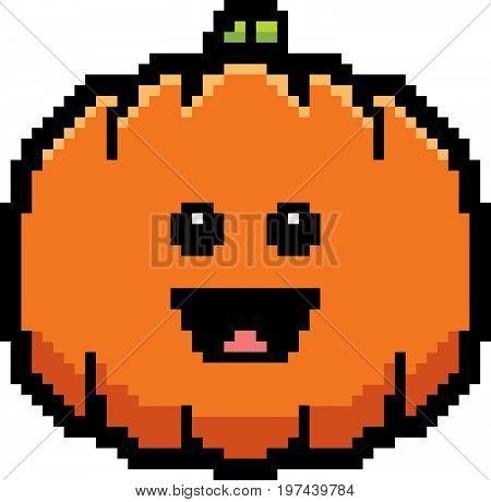 Smiling 8-bit Cartoon Pumpkin