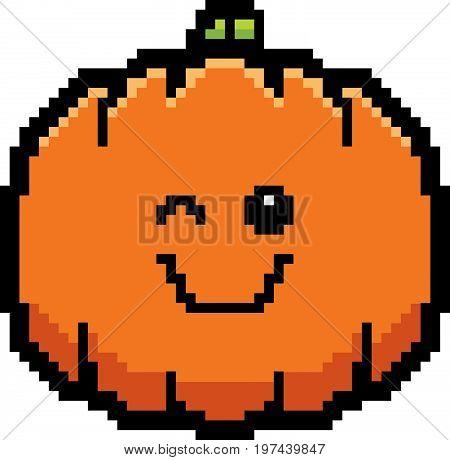 Winking 8-bit Cartoon Pumpkin