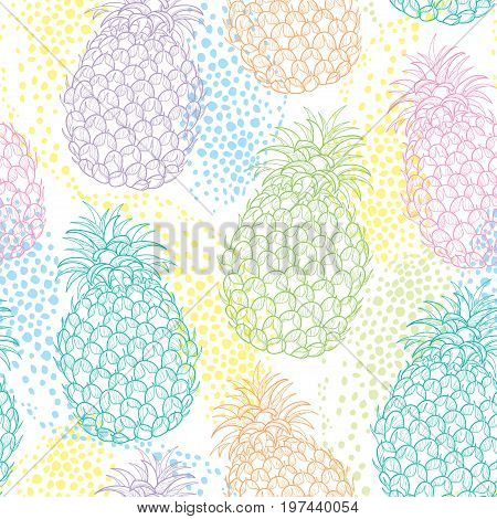 Vector seamless pattern with outline Ananas or Pineapple in pastel color and dots on the white background. Fruit pattern with perennial tropical plant in contour style for exotic summer design.