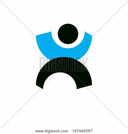 Vector illustration of excited abstract person with raised hands up. Liberty conceptual icon. Happiness metaphor symbol. Business innovation idea creative logotype.