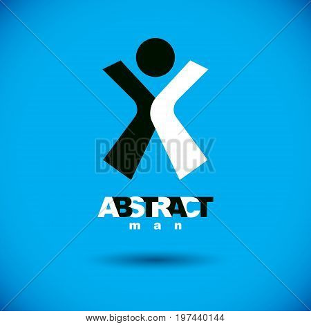 Vector illustration of joyful abstract individual with raised hands up. Liberty conceptual symbol. Happiness metaphor logotype. Business innovation idea creative emblem.