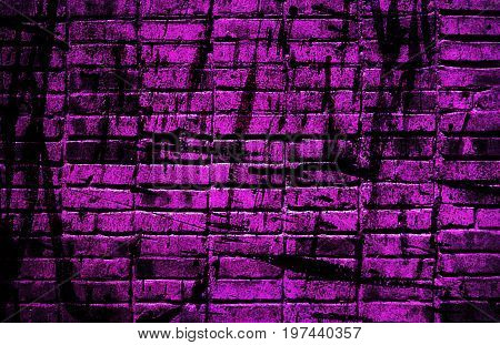 Brick. Brick wall. Purple brick wall. Abstract purple brick wall. Purple. Wall. Grunge.  Purple grunge. Art. Artistic background.