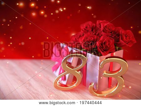 birthday concept with red roses in gift on wooden desk. 3D render - eighty-third birthday. 83rd