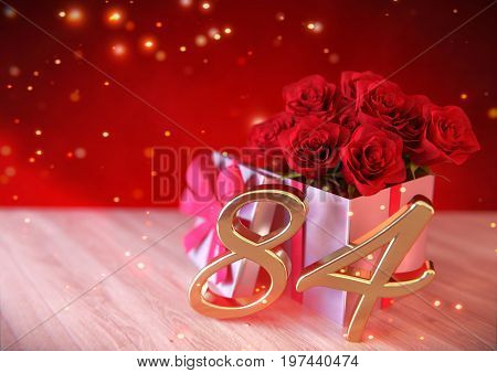 birthday concept with red roses in gift on wooden desk. 3D render - eighty-fourth birthday. 84th