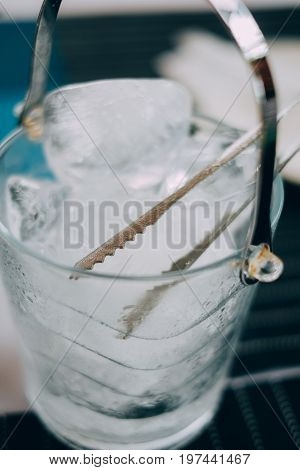 Ice bucket Champagne bucket full with ice