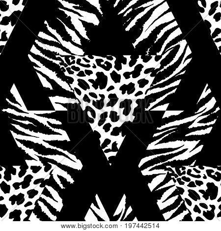 Seamless Repeating Textile, Ink Brush Strokes Pattern In Doodle Grunge Texture Style.