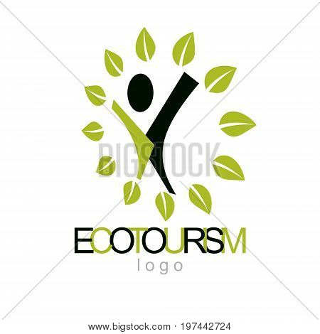 Vector illustration of joyful abstract individual with raised hands up. Ecotourism conceptual logo. Environmental conservation theme icon. Green ecology metaphor.