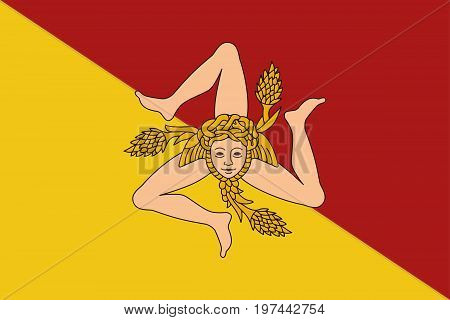 Flag of Sicily vector illustration. The triskelion and the head of the Gorgon Medusa