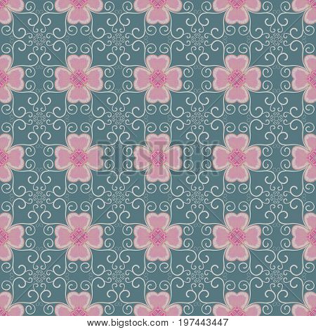 Pink Flower And Ivy On Green Background Seamless Patterns
