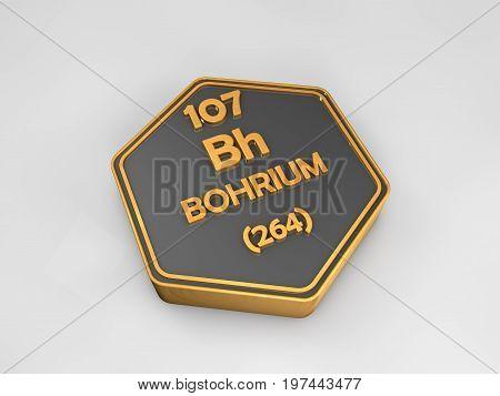 Bohrium - Bh - chemical element periodic table hexagonal shape 3d render