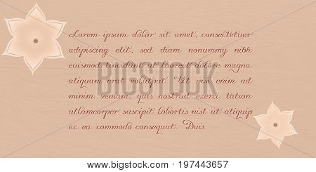 A background with old paper, paper flowers and letter-like text space. EPS 10 vector and jpg file.