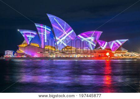 SYDNEY, AUSTRALIA - MAY 29 2015: Vivid Sydney light and sound festival at Sydney, Australia.