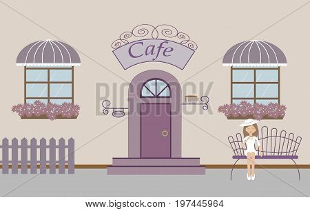 Pretty scenery in a rustic style. A cafe, beautiful girl, two windows with a striped awnings, door, stairs, flowers.A cute bench. A fence. Vector illustration