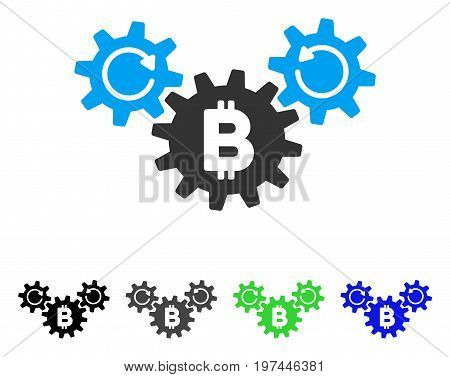 Bitcoin Wheels Rotation flat vector pictograph. Colored bitcoin wheels rotation gray black blue green icon versions. Flat icon style for application design.