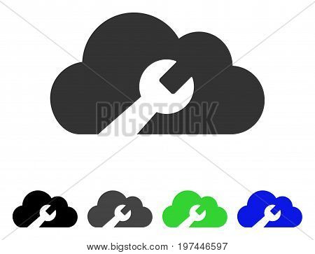 Cloud Wrench Tools flat vector icon. Colored cloud wrench tools gray black blue green icon variants. Flat icon style for graphic design.