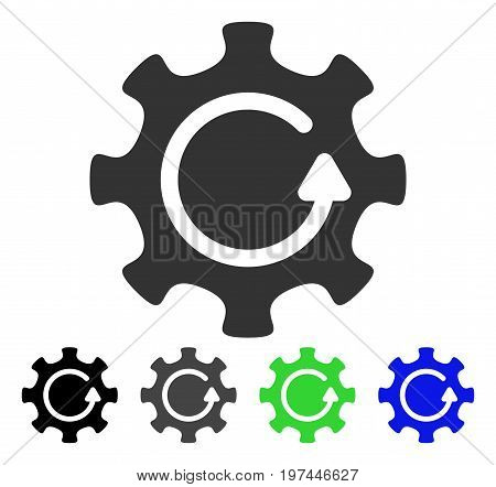 Cog Rotation Direction flat vector pictograph. Colored cog rotation direction gray black blue green pictogram variants. Flat icon style for graphic design.