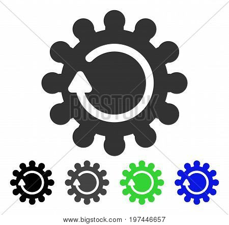 Cog Rotation flat vector pictogram. Colored cog rotation gray black blue green icon versions. Flat icon style for web design.