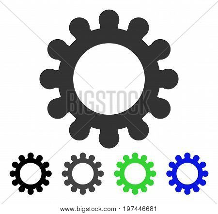 Cog flat vector icon. Colored cog gray black blue green pictogram variants. Flat icon style for web design.