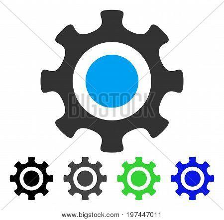 Cogwheel flat vector pictogram. Colored cogwheel gray black blue green pictogram versions. Flat icon style for application design.