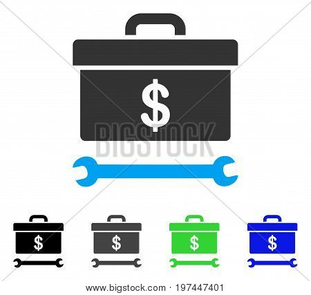 Dollar Toolbox flat vector pictograph. Colored dollar toolbox gray black blue green icon versions. Flat icon style for graphic design.