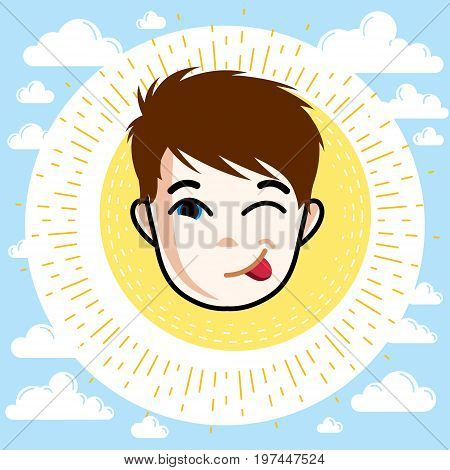 Boy face vector human head illustration. Redhead kid winking and making funny grimace.