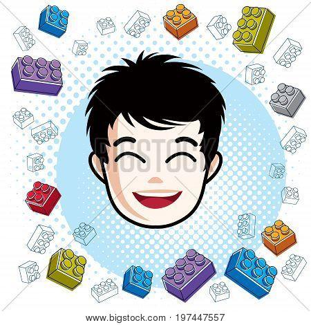 Boy face vector human head illustration portrait. Brunet teenager expressing positive emotions.