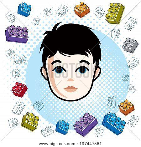 Cute boy face human head. Vector brunet character toddler face features clipart.