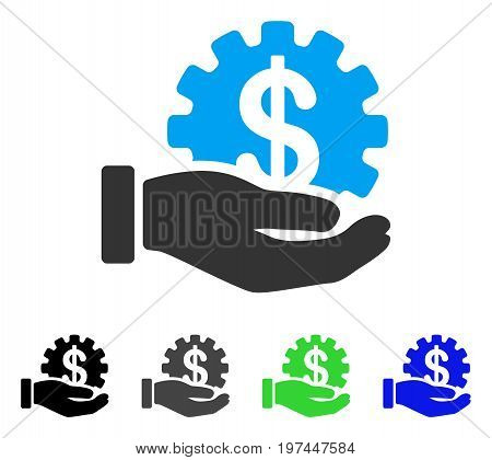 Financial Development Gear Hand flat vector pictograph. Colored financial development gear hand gray black blue green pictogram variants. Flat icon style for web design.