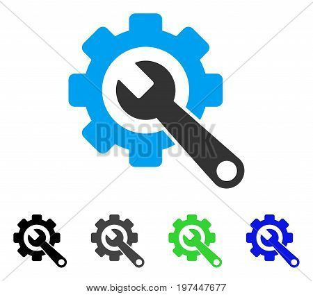 Gear And Wrench flat vector pictogram. Colored gear and wrench gray black blue green pictogram versions. Flat icon style for graphic design.